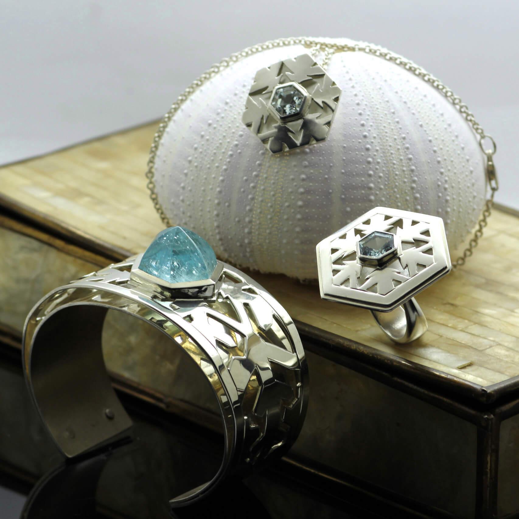 Birthstone jewellery Aquamarine gemstone contemporary statement jewellery