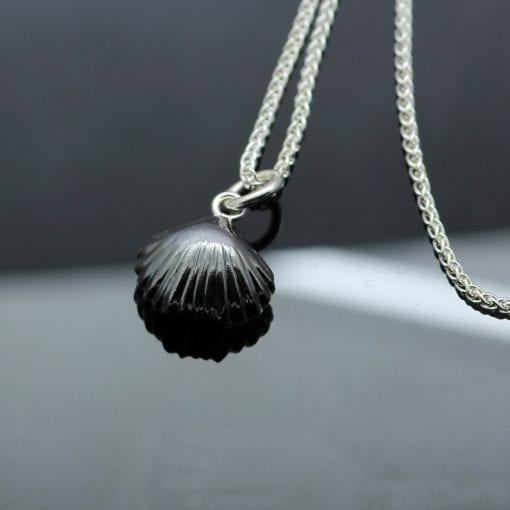 Handcrafted oxidised Sterling Silver Fossil Shell necklace