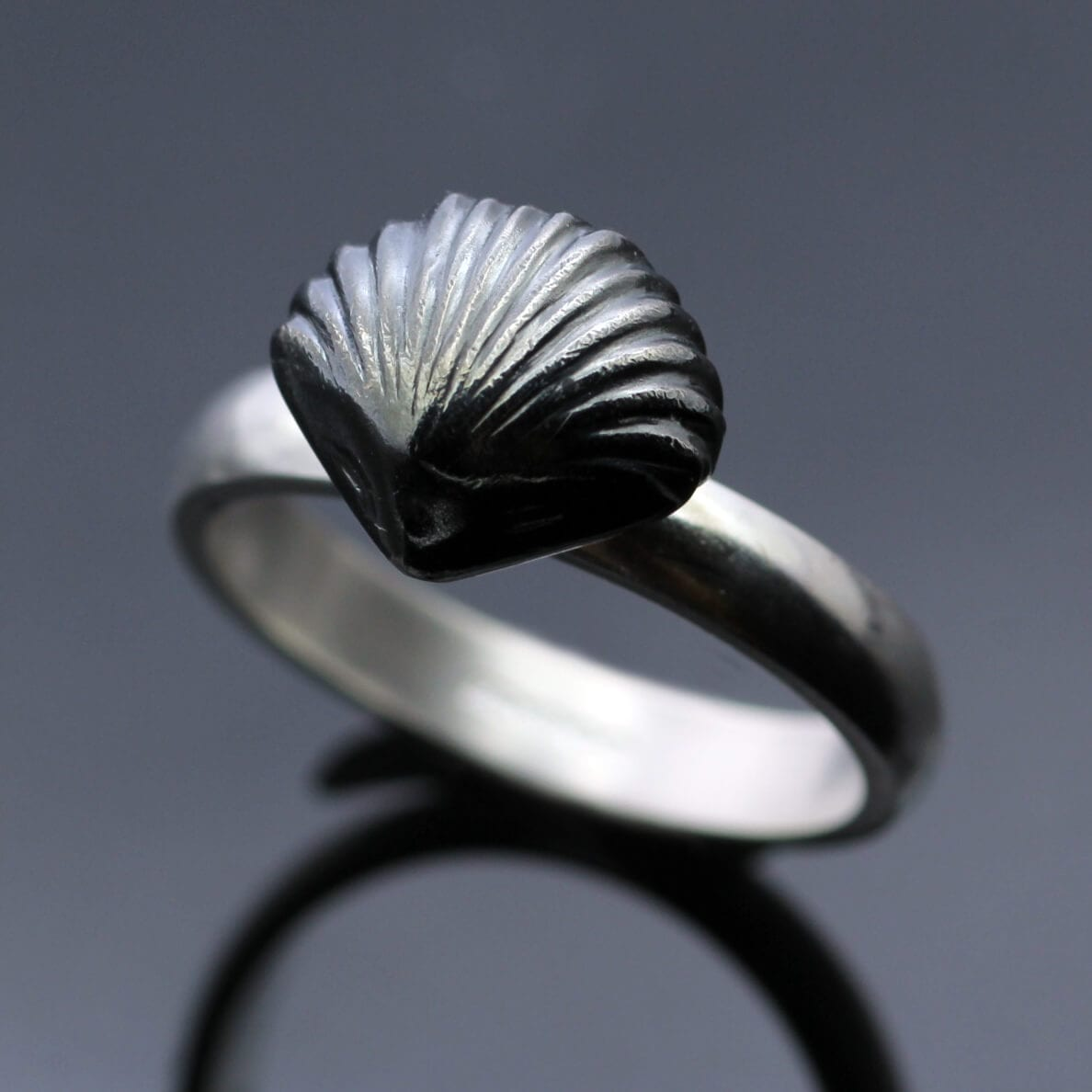 Sterling silver handmade ring oxidised fossil shell charm