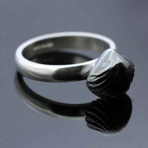 Modern unique oxidised sterling silver shell fossil ring
