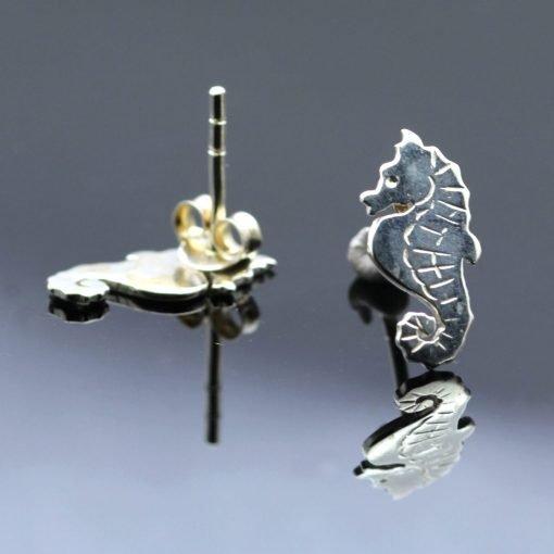 Handmade sterling silver modern charm seahorse animal earrings