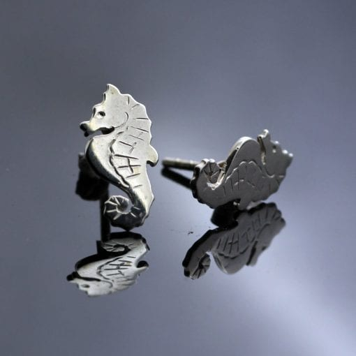 Unique seahorse design solid silver handmade earrings