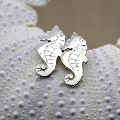 Sterling Silver handmade Seahorse charm stud earrings