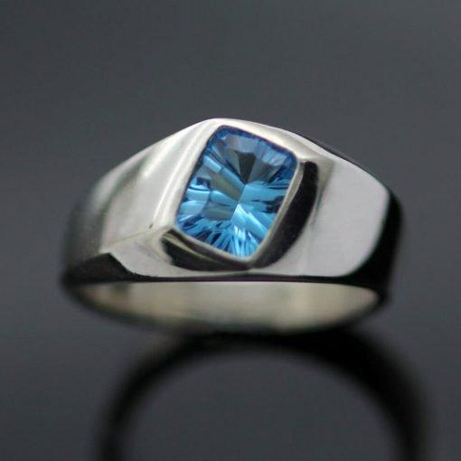Modern gemstone ring blue topaz signet ring