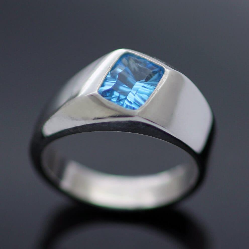Swiss Blue Topaz optix cut silver handmade ring