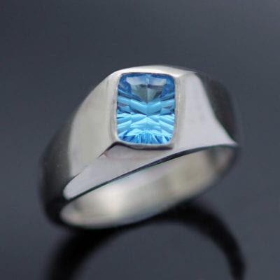 Swiss Blue Optix cut Topaz silver signet ring