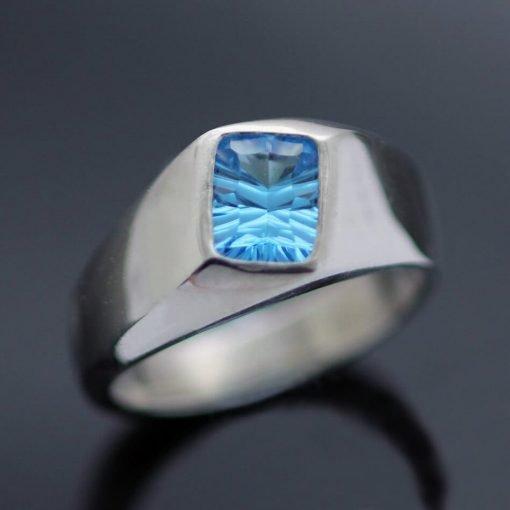 Swiss Blue Optix cut Topaz silver signet ring
