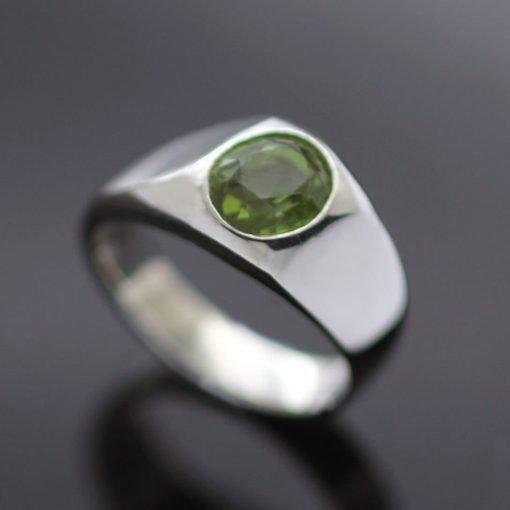 Peridot Birthstone signet ring handmade silver