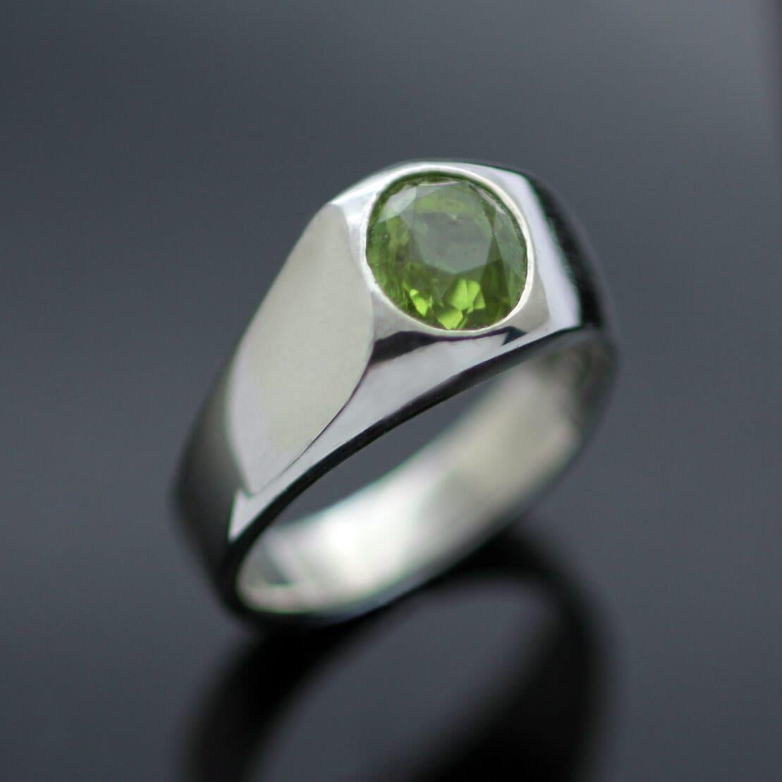 Silver Signet ring handmade Peridot gemstone