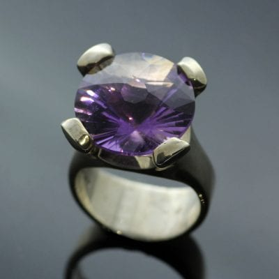 Custom cut Amethyst set in solid Sterling Silver cocktail ring