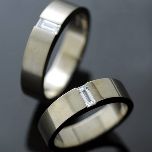 Handmade unique matching wedding bands with set Diamond gemstones