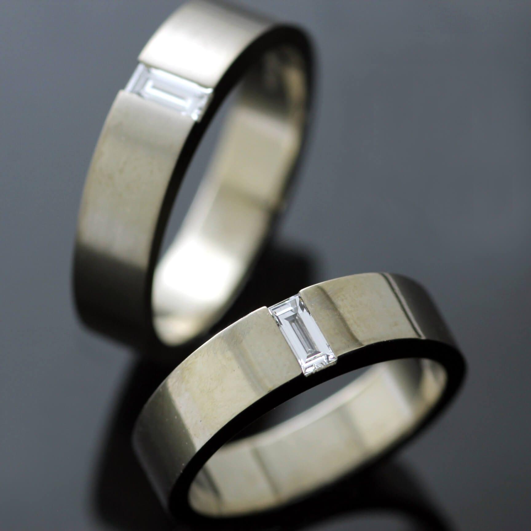 Handmade unique matching wedding bands with set Diamond gemstones