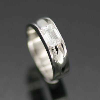 Baguette cut Diamond set in handmade Platinum bespoke wedding band