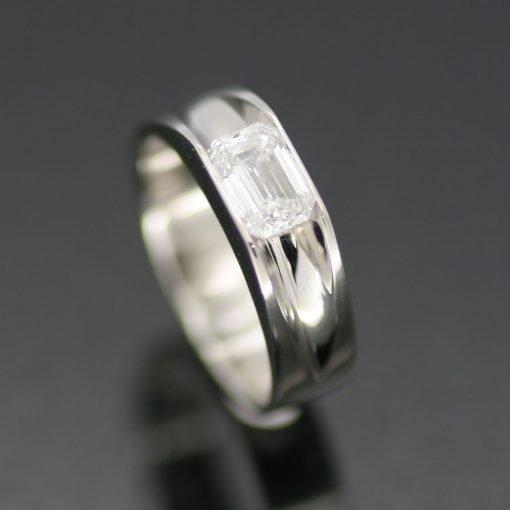 Baguette cut Diamond set in handmade Platinum bespoke wedding band