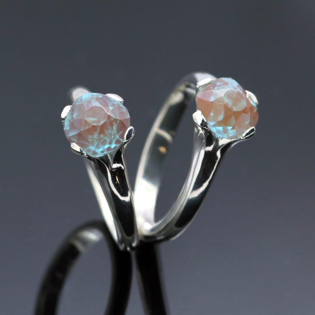 Bespoke modern dress rings handmade in Sterling Silver with gemstones