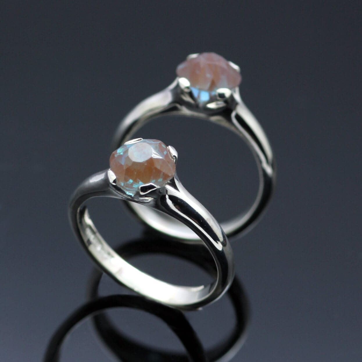 Bespoke matching cocktail rings handmade in Sterling Silver