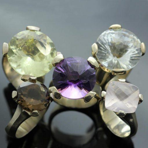 Modern statement gemstone cocktail rings