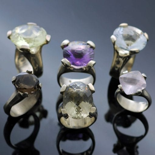 Sterling Silver gemstone contemporary cocktail rings by Julian Stephens