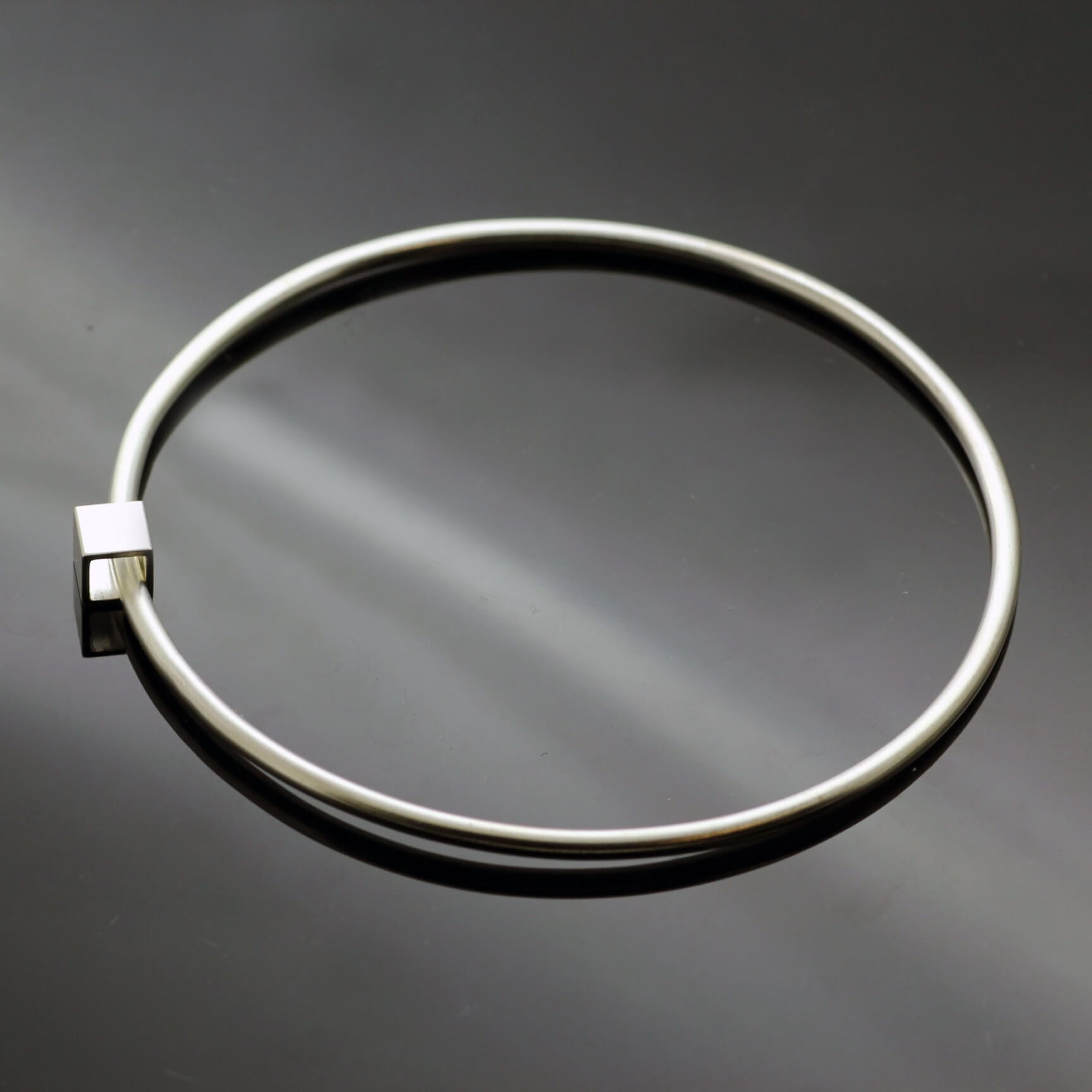 Modern minimal solid silver cube bangle