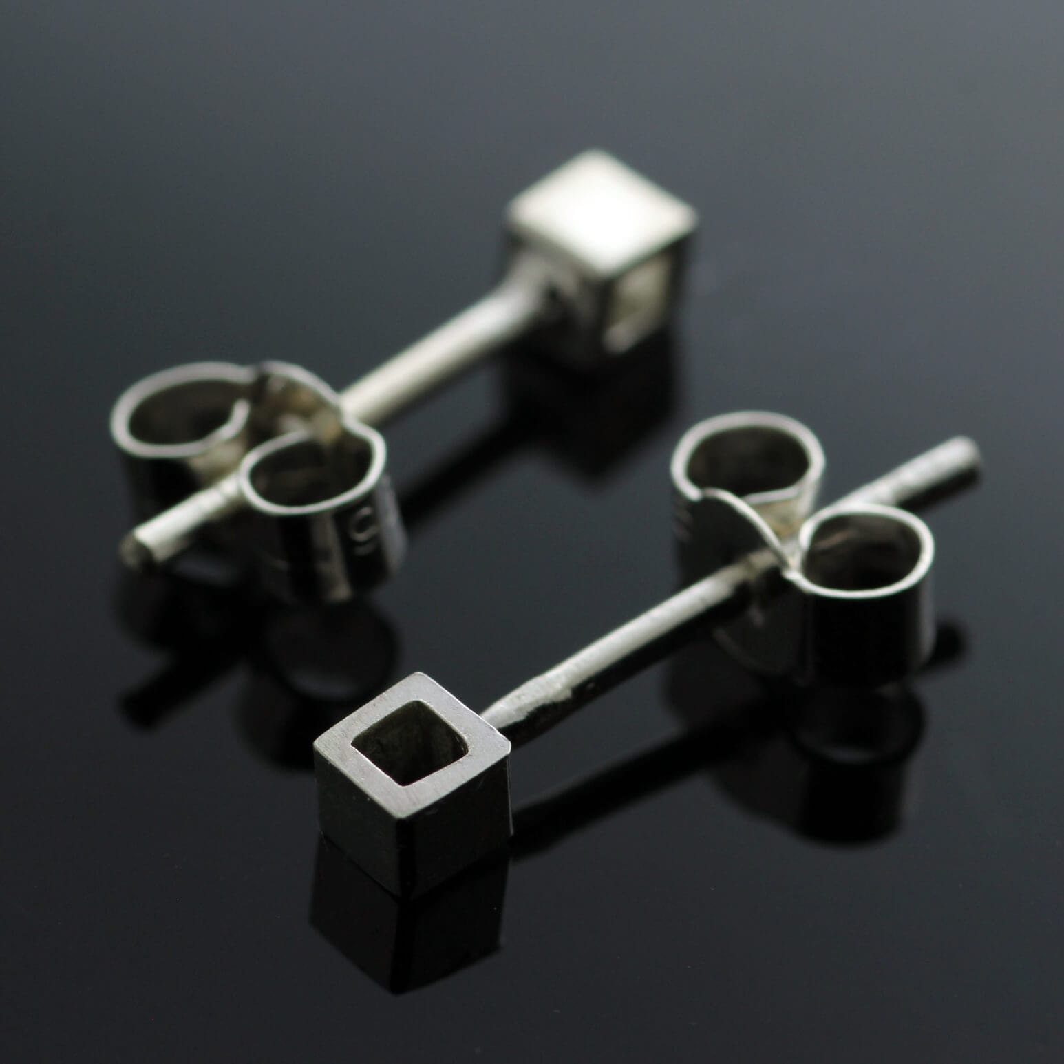 Sterling Silver contemporary geometric Cube stud earrings