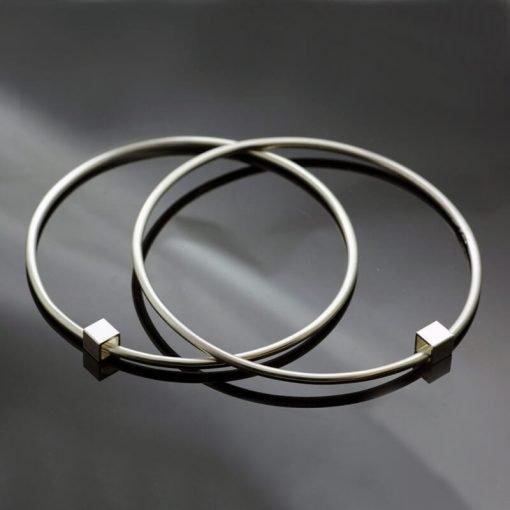 Modern handmade sterling silver Cube stacking bangles