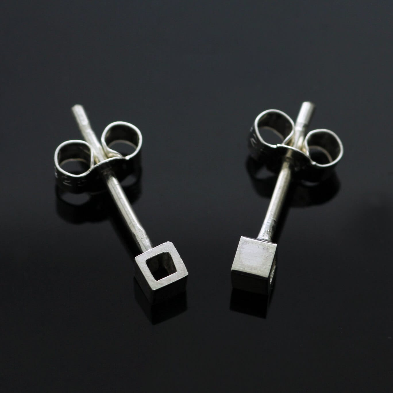 Modern handmade geometric silver Cube stud earrings