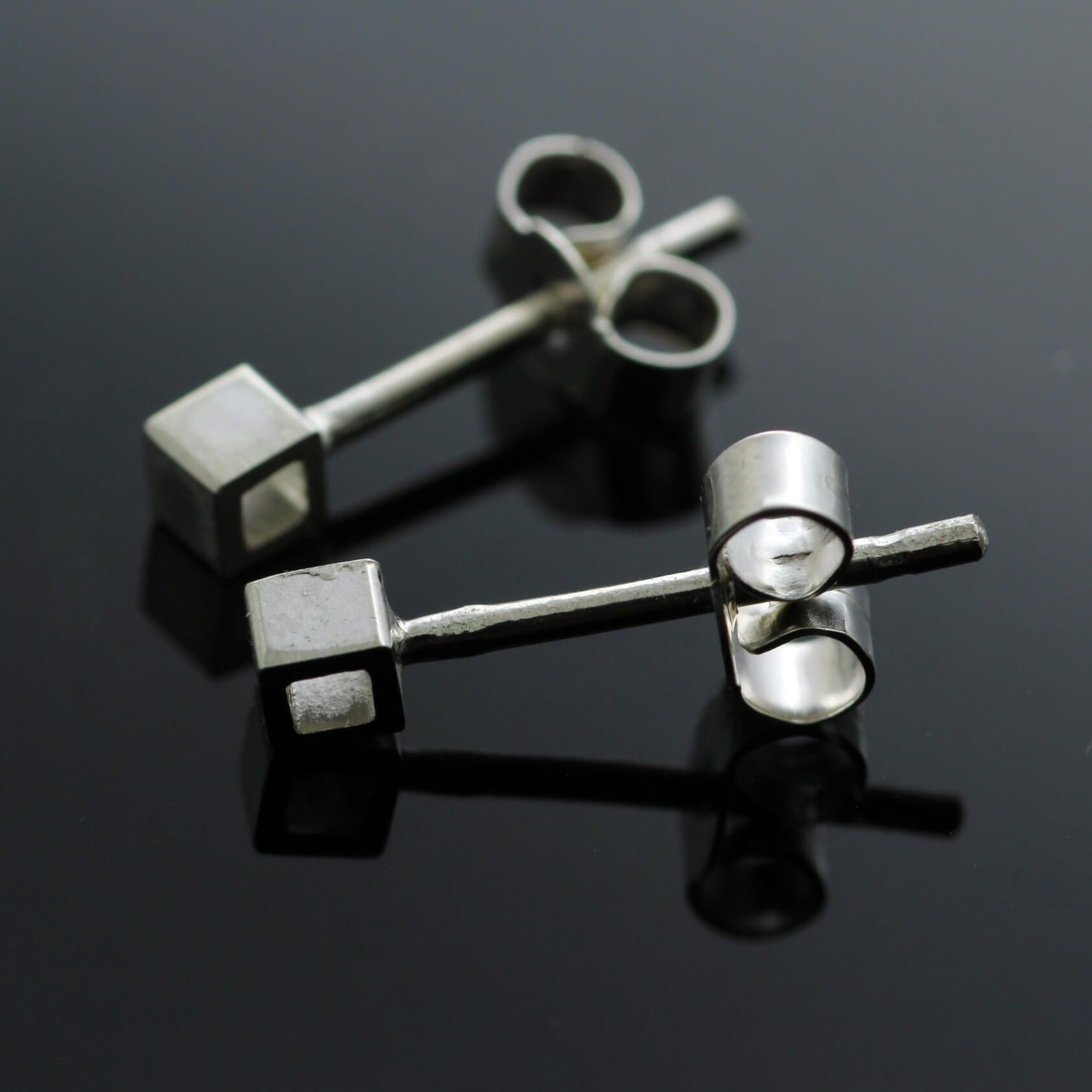 Modern geometric solid silver cube stud earrings
