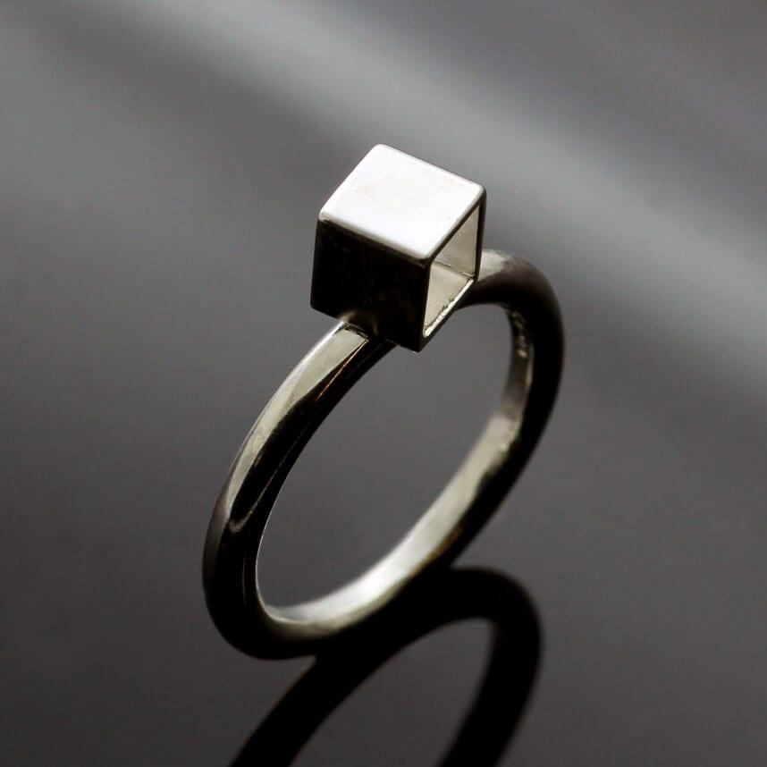Modern geometric solid Sterling Silver handmade Cube ring