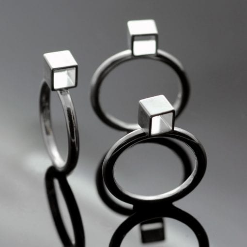 Handmade Silver Cube modern sterling silver stacking rings