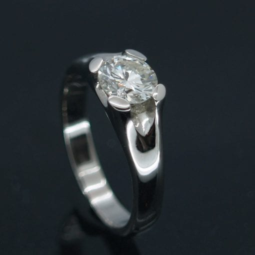 Bespoke, handmade Round Brilliant Diamond set in Palladium engagement ring