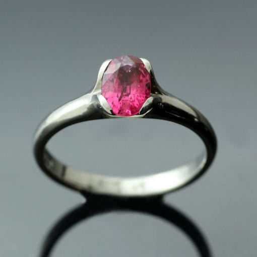 Unique Pink Spinel Palladium handmade engagement ring