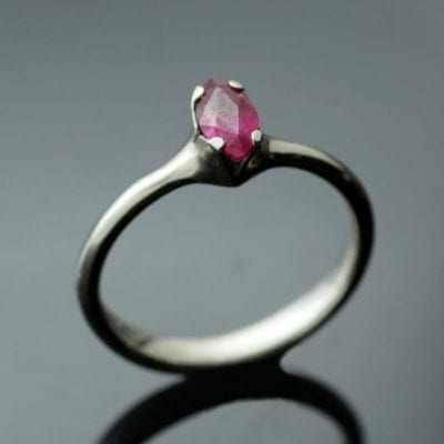 Marquis cut Ruby gemstone Flower engagement ring