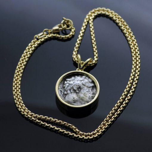 Bespoke Antique Bekah coin handmade Yellow Gold necklace