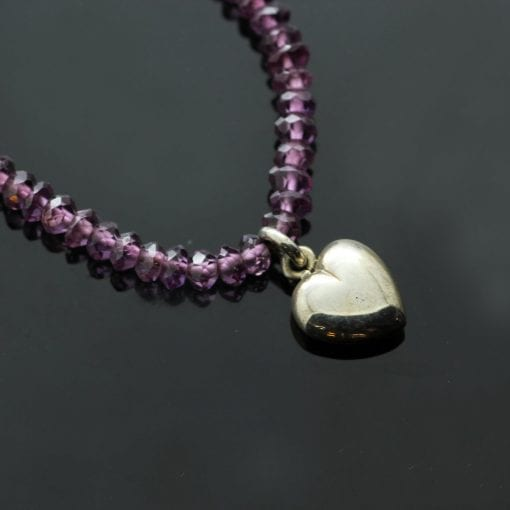 Amethyst beaded necklace Sterling Silver handmade Heart charm