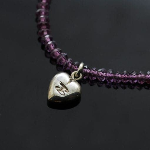 Handmade Silver Heart charm Amethyst beaded necklace