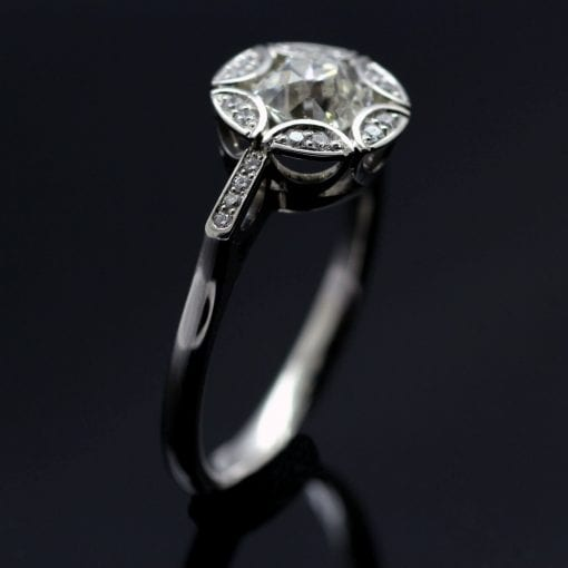 Elegant Old Cut Diamond and Platinum handcrafted engagement ring
