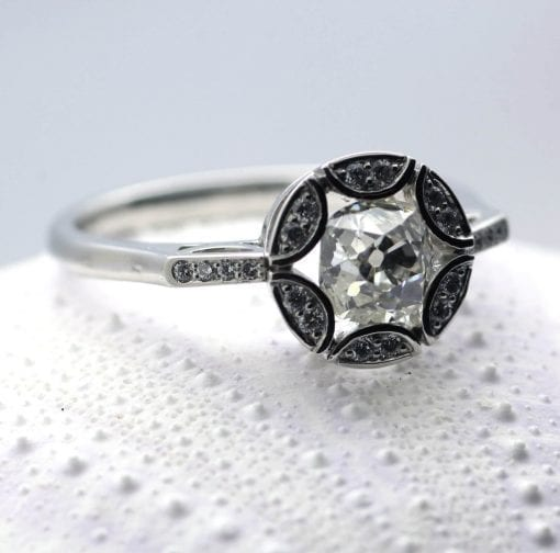 Platinum and Old Cut Diamond Art Deco inspired engagement ring