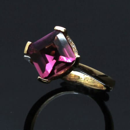 Pink Tourmaline and Rose Gold Gatsby engagement ring by Julian Stephens Goldsmith