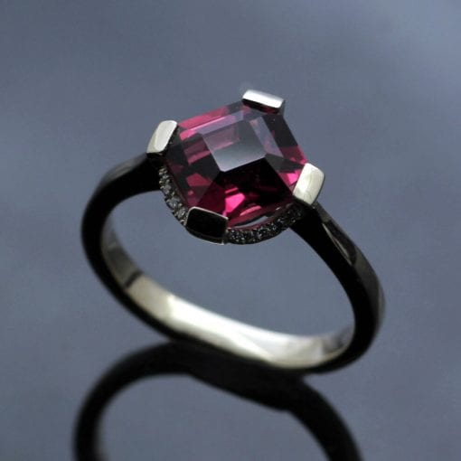Fancy cut pink Tourmaline Diamond white gold engagement ring