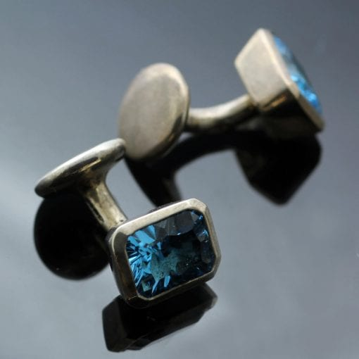 Modern Silver mens cufflinks with Optix cut gemstones