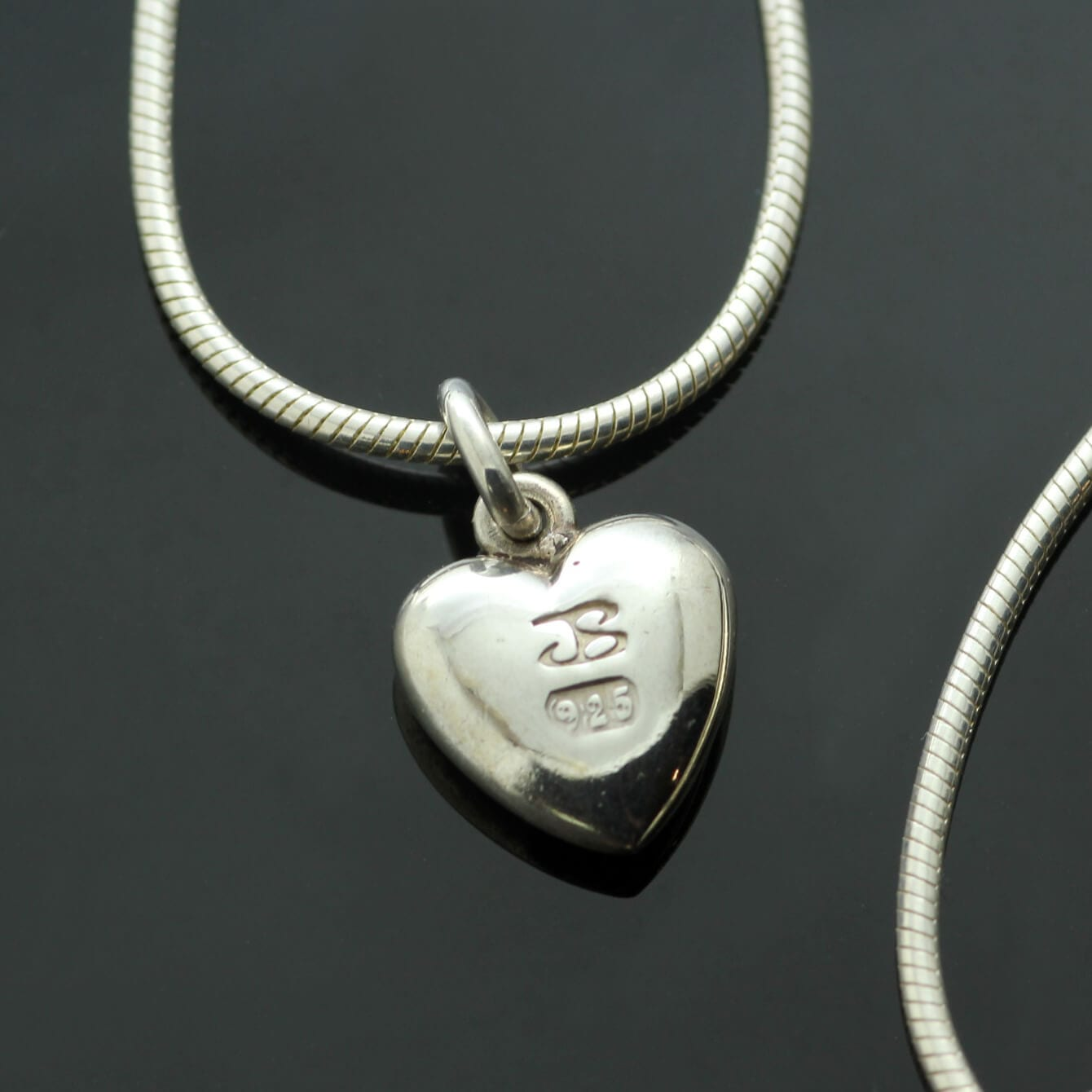 Handcrafted solid Sterling Silver heart charm on solid Silver Snake chain
