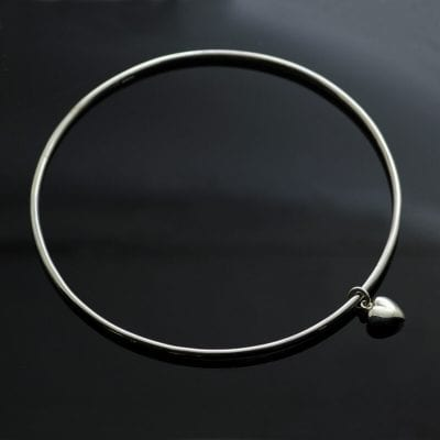 Sterling Silver stacking bangle sterling silver modern heart charm