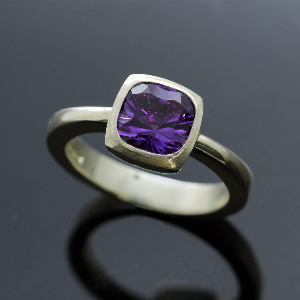 Handmade Amethyst Sterling Silver contemporary statement ring