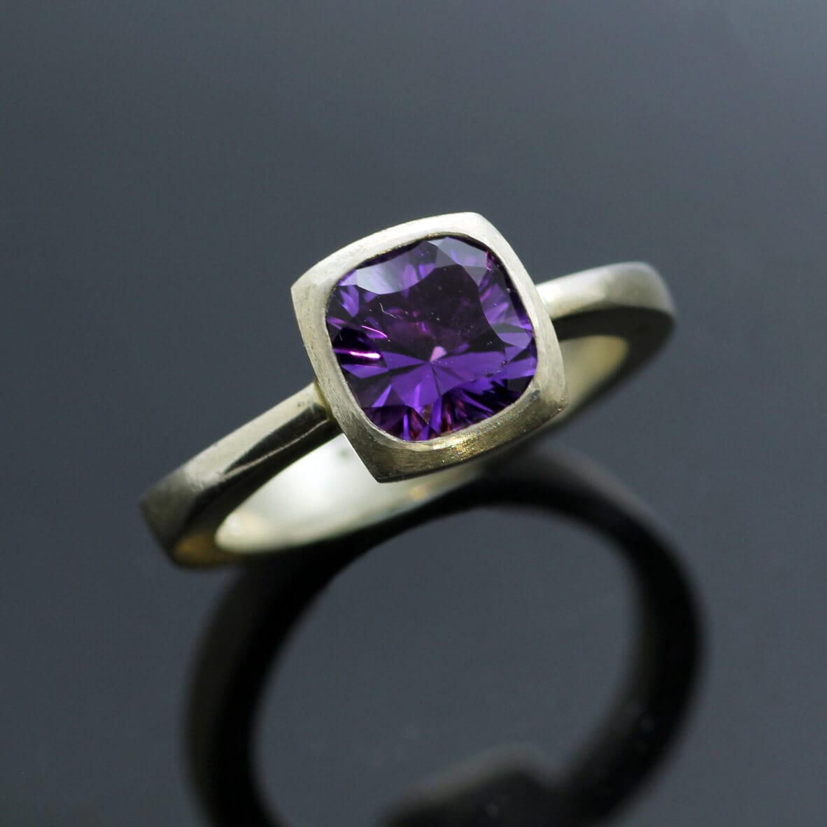 Sculptural statement Amethyst Sterling Silver cocktail ring
