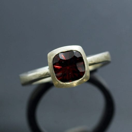 Handcrafted Garnet Birthstone Silver modern dress ring