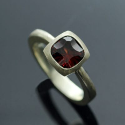 Unique handmade Garnet Silver statement gemstone ring