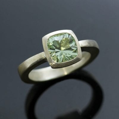 Prasiolite gemstone modern sterling silver handcrafted ring
