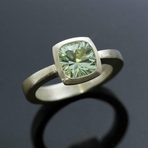 Prasiolite gemstone modern sterling silver handcrafted ring