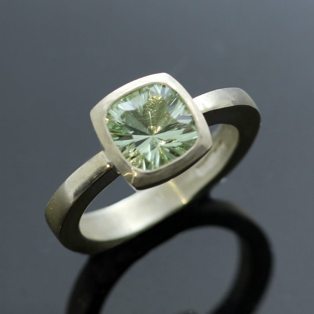 Handmade contemporary Prasiolite gemstone statement ring