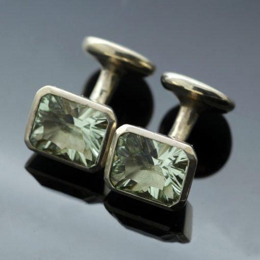 Optix cut gemstone Prasiolite Silver handmade cufflinks